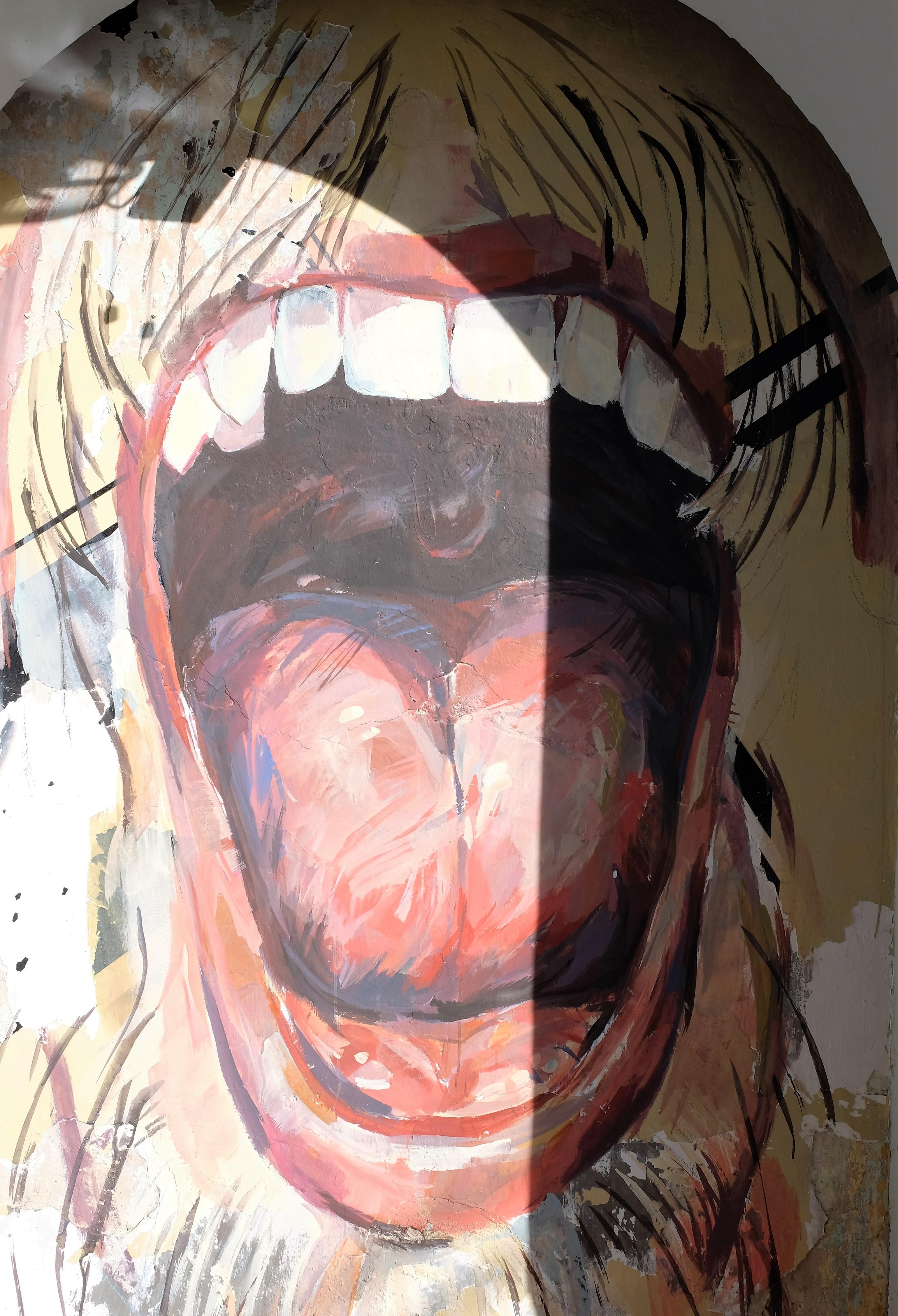 Man Open Mouth Street Art 2 Lights Camera Backpack
