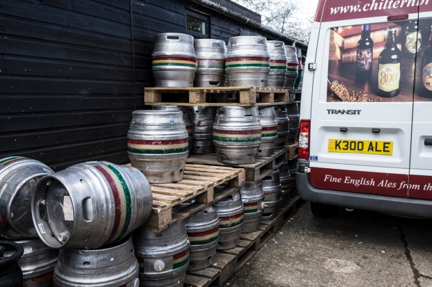 kegs of ale and personalised numberplate at the chilterns brewery